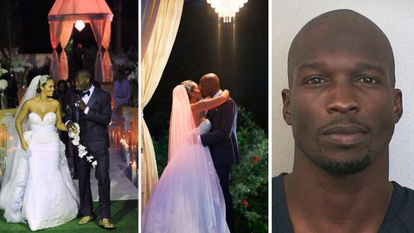 Evelyn Lozada and Chad Ochocinco Johnson appear at their July 4, 2012 wedding, as seen in promotional photos for their VH1 reality show, Ev and Ocho. / Chad Ochocinco Johnson appears in a booking photo taken after his Aug. 11, 2012 arrest. - Provided courtesy of VH1 / Mike Colon / Getty Images / Broward Sheriffs Office