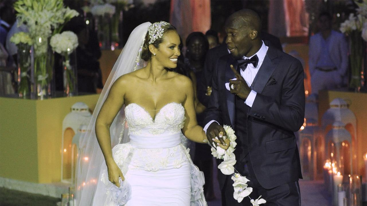 Evelyn Lozada and Chad Ochocinco Johnson appear at their July 4, 2012 wedding, as seen in promotional photos for their VH1 reality show, Ev and Ocho.VH1 / Mike Colon / Getty Images