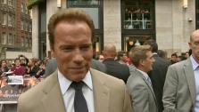 Arnold Schwarzenegger talks to the Associated Press at the London premiere of The Expendables 2 on August 13, 2012. - Provided courtesy of none / AP