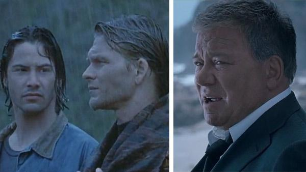 Keanu Reeves and Patrick Swayze appear in a scene from the 1992 movie Point Break. / William Shatner appears in a Priceline ad in August 2012. - Provided courtesy of JVC Entertainment Networks / 20th Century Fox / Priceline /  Butler, Shine, Stern and Partners (BSSP)