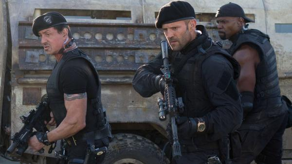 Sylvester Stallone, Jason Statham and Terry Crews appear in a scene from the 2012 movie The Expendables 2. - Provided courtesy of Lionsgate