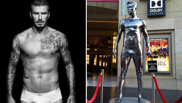 David Beckham models in a photo for his H&M bodywear collection in 2012. / A statue of David Beckham, promoting his H&M bodywear collection, appears in a photo posted on the soccer players Facebook page on August 16, 2012. - Provided courtesy of H&M / Facebook.com/Beckham