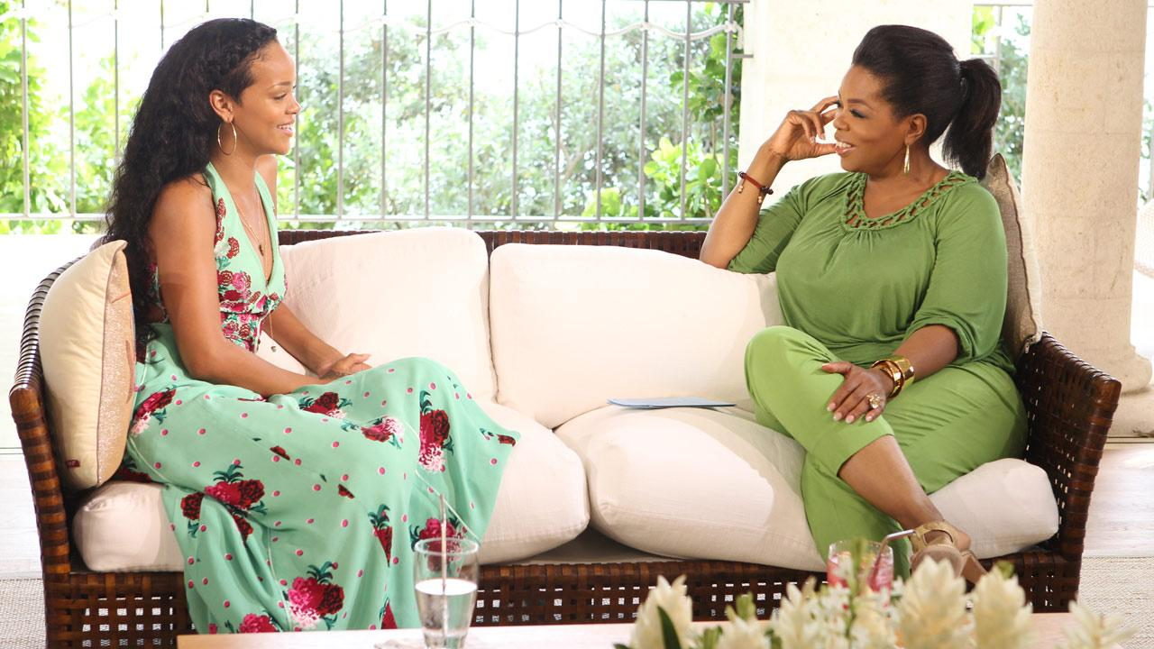Rihanna and Oprah Winfrey appear in a promotional photo for their interview which aired on OWN on on Aug. 19, 2012.