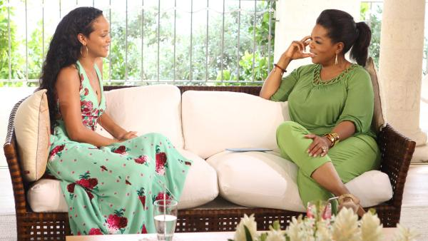 Rihanna and Oprah Winfrey appear in a promotional photo for their interview which aired on OWN on on Aug. 19, 2012. - Provided courtesy of OWN