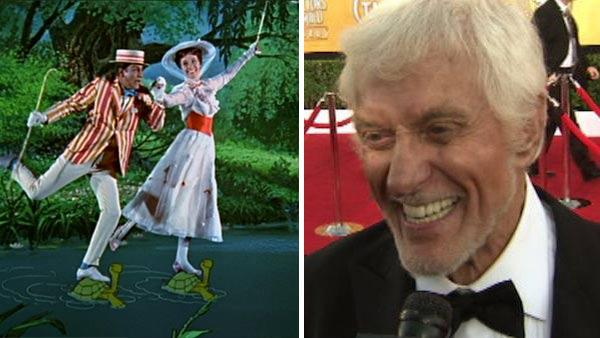 Dick Van Dyke and Julie Andrews appear in a scene from the 1964 movie Mary Poppins. / Dick Van Dyke talks to OnTheRedCarpet.com at the Screen Actors Guild Awards in Los Angeles on Jan. 29, 2012. - Provided courtesy of OTRC / Walt Disney Pictures
