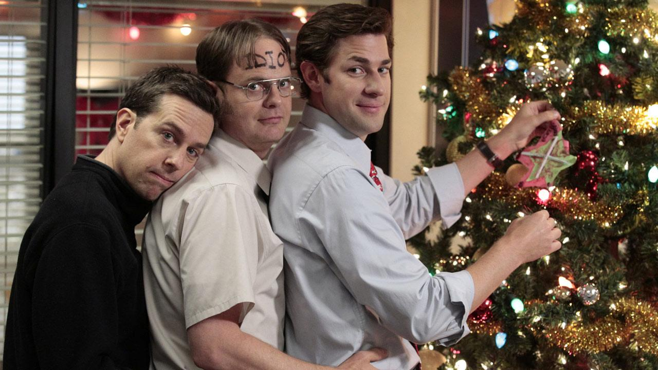 Rainn Wilson, John Krasinski and Ed Helms appear in a scene from The Office in 2011.
