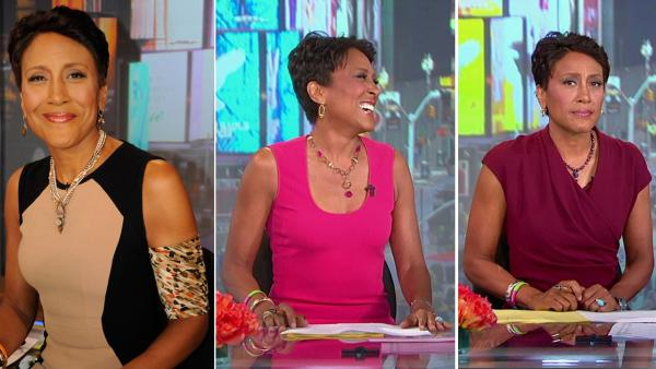 Robin Roberts appears on Good Morning America on July 25, 2012 (left), Aug. 20, 2012 (center) and Aug. 21, 2012. - Provided courtesy of ABC