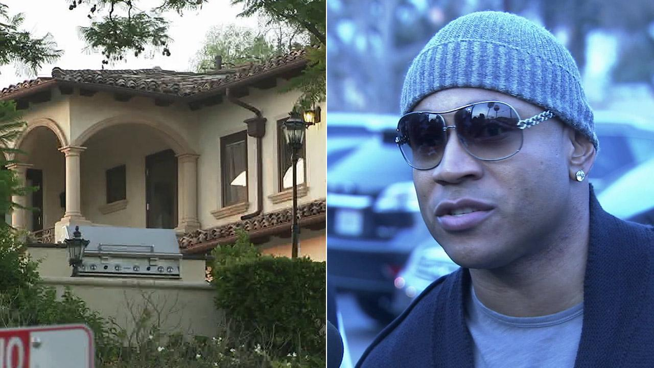 (right) LL Cool Js Studio City home is shown in this Aug. 22, 2012 photo. (left) LL Cool J is shown in an undated file photo.