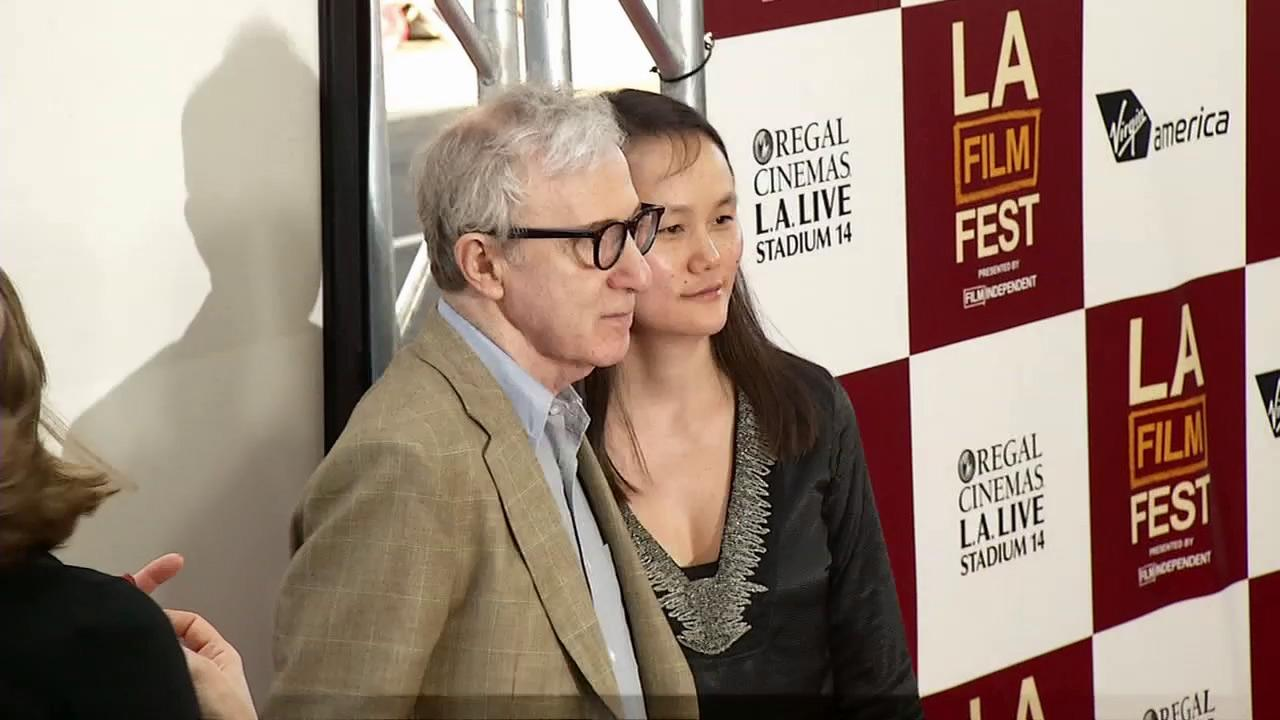 Woody Allen and wife, Soon-Yi Previn, appear at the premiere of To Rome With Love at the Los Angeles Film Festival on June 14, 2012.