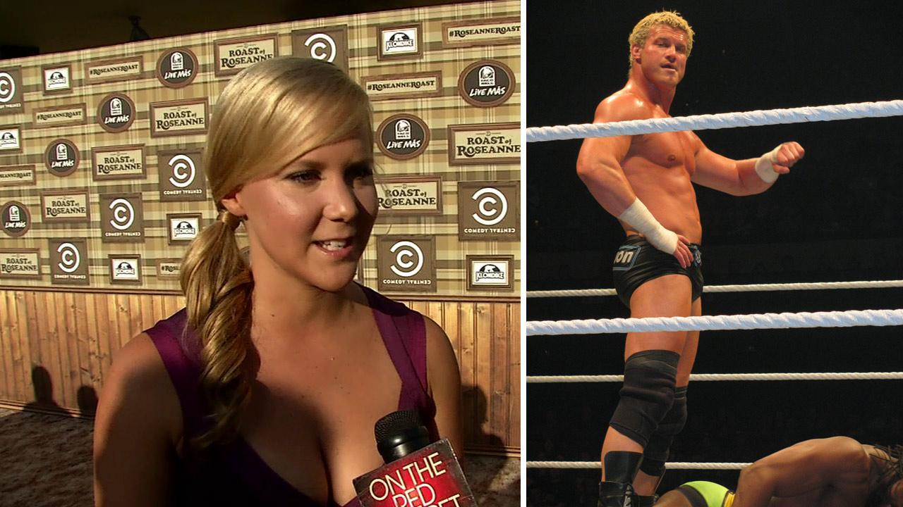 Amy Schumer talks to OnTheRedCarpet.com before a taping of The Comedy Central Roast of Roseanne on Aug. 4, 2012. / Dolph Ziggler appears at a WWE match in Australia on July 4, 2011.