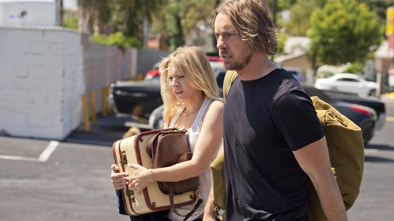 Dax Shepard and Kristen Bell appear in a still from Hit and Run.