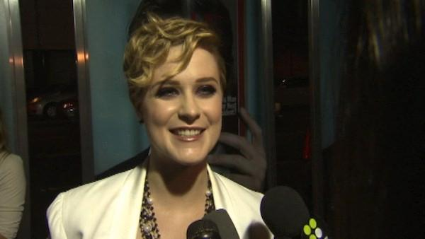 Evan Rachel Wood talks to OnTheRedCarpet host Rachel Smith at the premiere of 'The Ides of March' on Sept. 27, 2011.