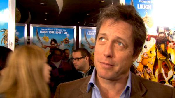 Hugh Grant talks to reporters at the New York premiere of 'The Pirates! Band of Misfits' on April 22, 2012.