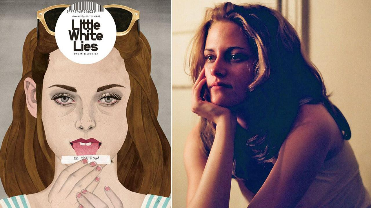 Kristen Stewart appears in an illustration on the cover of the September/October issue of Little White Lies magazine. / Kristen Stewart appears in a still from the 2012 film, On The Road.