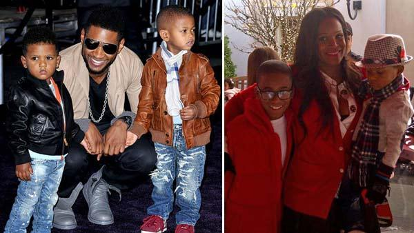 Usher and his sons appear at the Los Angeles premiere of Justin Biebers Never Say Never on August 18, 2011. / Tameka Foster Raymond and her late son Kile Glover and Usher Raymond V appear in a photo posted on her official Lockerz page in December 2011. - Provided courtesy of Facebook.com/usher / lockerz.com/s/163775995
