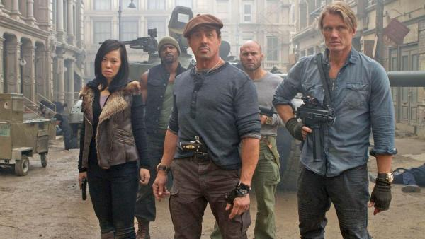 Sylvester Stallone, Jason Statham, Terry Crews, Nan Yu and Randy Couture appear in a scene from the 2012 movie The Expendables 2. - Provided courtesy of Lionsgate