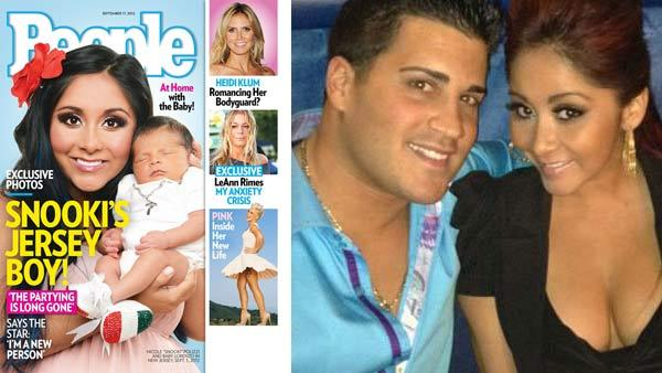 Snooki and baby Lorenzo appear on the cover of People magazine in September 2012. / Snooki and her boyfriend Jionni LaValle appear in a photo posted on the reality star's official Twitter page on January 28, 2012.