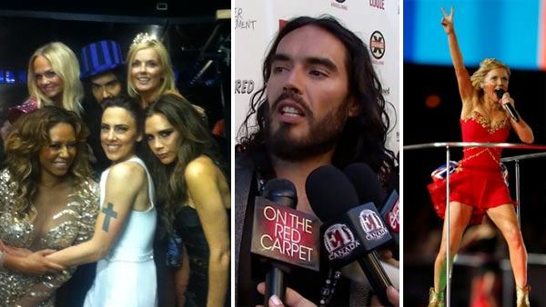 Spice Girls Melanie Brown, Emma Bunton, Geri Halliwell, Victoria Beckham and Melanie Chisholm, Russell Brand (middle), are pictured on Aug. 13, 2012. / Russell Brand talks to OnTheRedCarpet.com at the premiere of  Brand X on June 26, 2012. - Provided courtesy of twitter.com/officialmelb / pic.twitter.com/Aue3aIc9 / OTRC / AP Photo / Matt Dunham