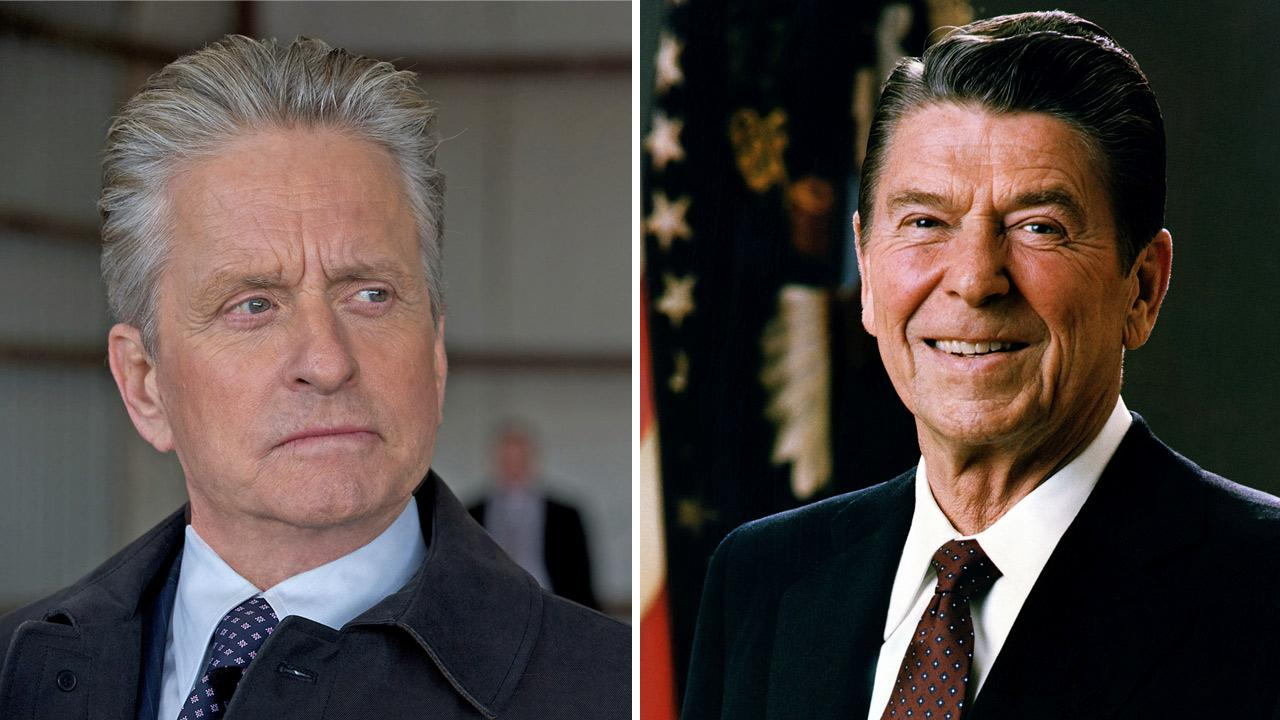Michael Douglas appears in the 2011 film Haywire. / Official presidential portrait of President Ronald Regan.