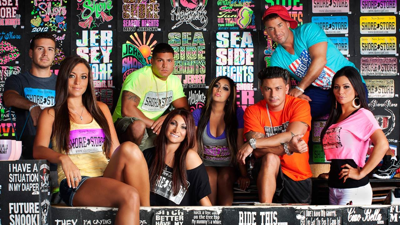 The cast of Jersey Shore appear in a promotional photo for the sixth season of the MTV show Jersey Shore in 2012.