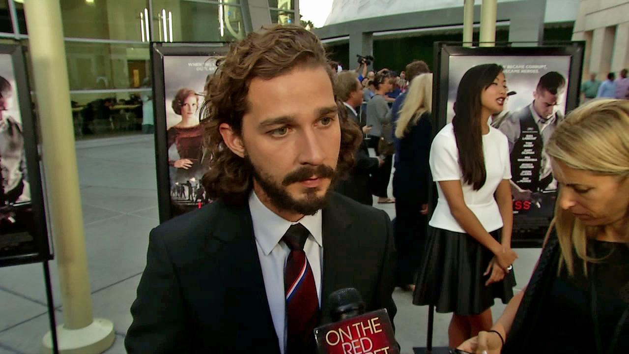 Shia LaBeouf appears at the premiere for Lawless in Los Angeles on August 22, 2012.