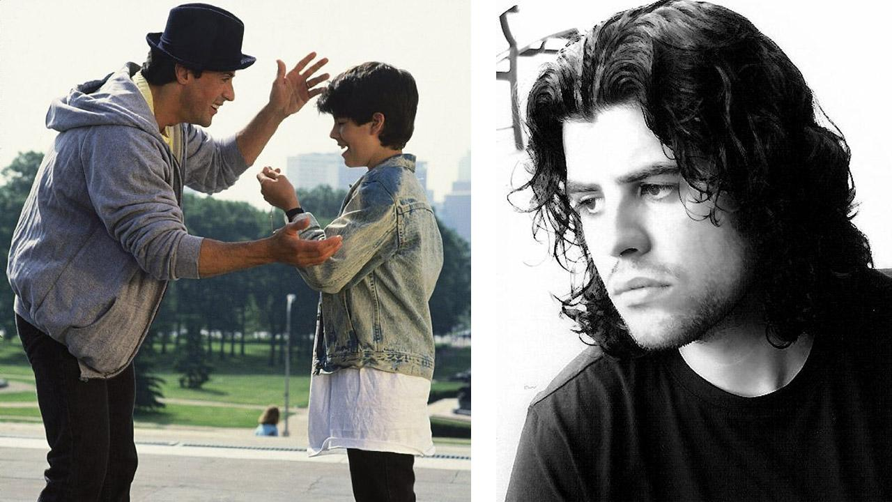 Sage Stallone appears with his father Sylvester Stallone in a scene from the 1990 movie Rocky V. / Sage Stallone appears in a 2007 photo posted on his official MySpace profile.