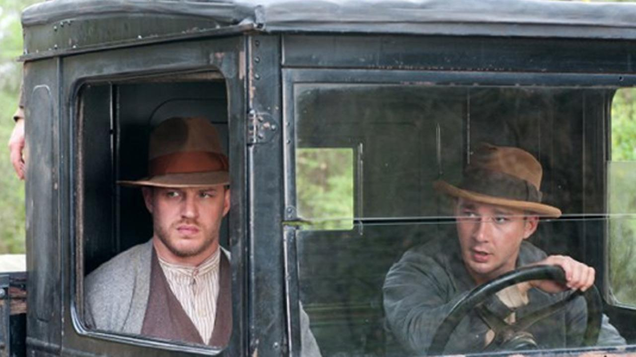 Tom Hardy and Shia LaBeouf appear in a scene from the 2012 film, Lawless.