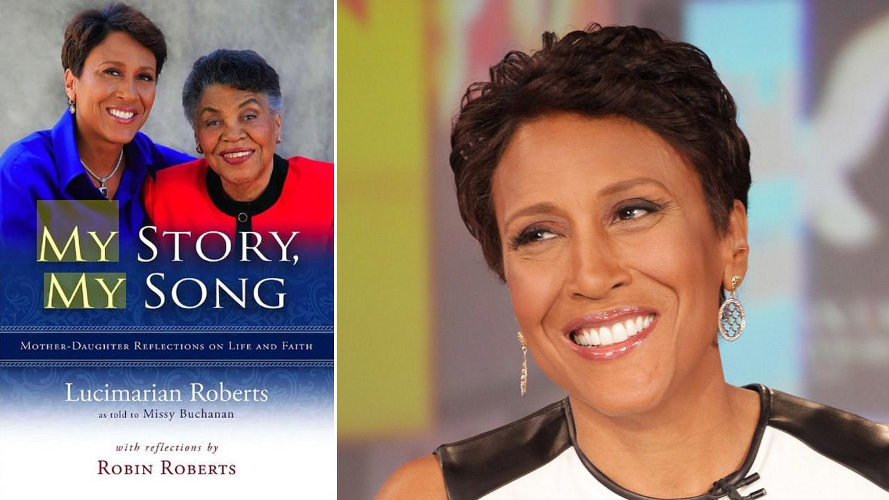 Robin Roberts and her mother, Lucimarian, appear on the cover of Lucimarians 2012 book My Story, My Song. / Robin Roberts appears on Good Morning America on Aug. 30, 2012.