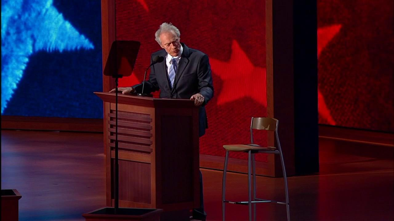 Clint Eastwood talked to an empty chair, which spurred an invisible Obama Twitter trend, and upstaged Mitt Romney at the Republican National Convention on Aug. 30, 2012.RNC