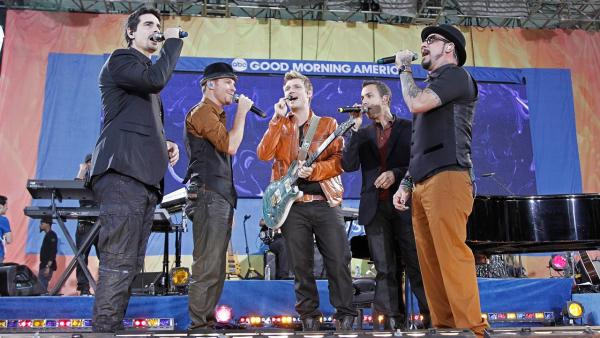 Kevin Richardson, Brial Littrell, Nick Carter, Howie Dorough and A.J. McLean perform on ABCs Good Morning America on Aug. 31, 2012. - Provided courtesy of Lou Rocco / ABC