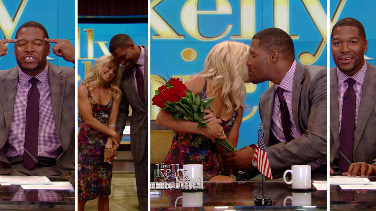 Michael Strahan (right) makes his debut as the new co-host of the newly-named show LIVE! with Kelly and Michael, alongside Kelly Ripa, on Sept. 4, 2012.
