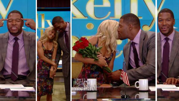 Michael Strahan (right) makes his debut as the new co-host of the newly-named show LIVE! with Kelly and Michael, alongside Kelly Ripa, on Sept. 4, 2012. - Provided courtesy of ABC