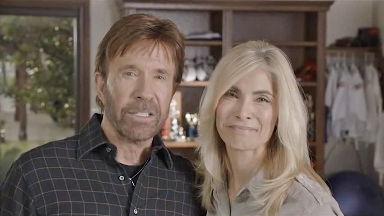 Chuck Norris and his wife Gena appear in a political ad released in early September 2012.
