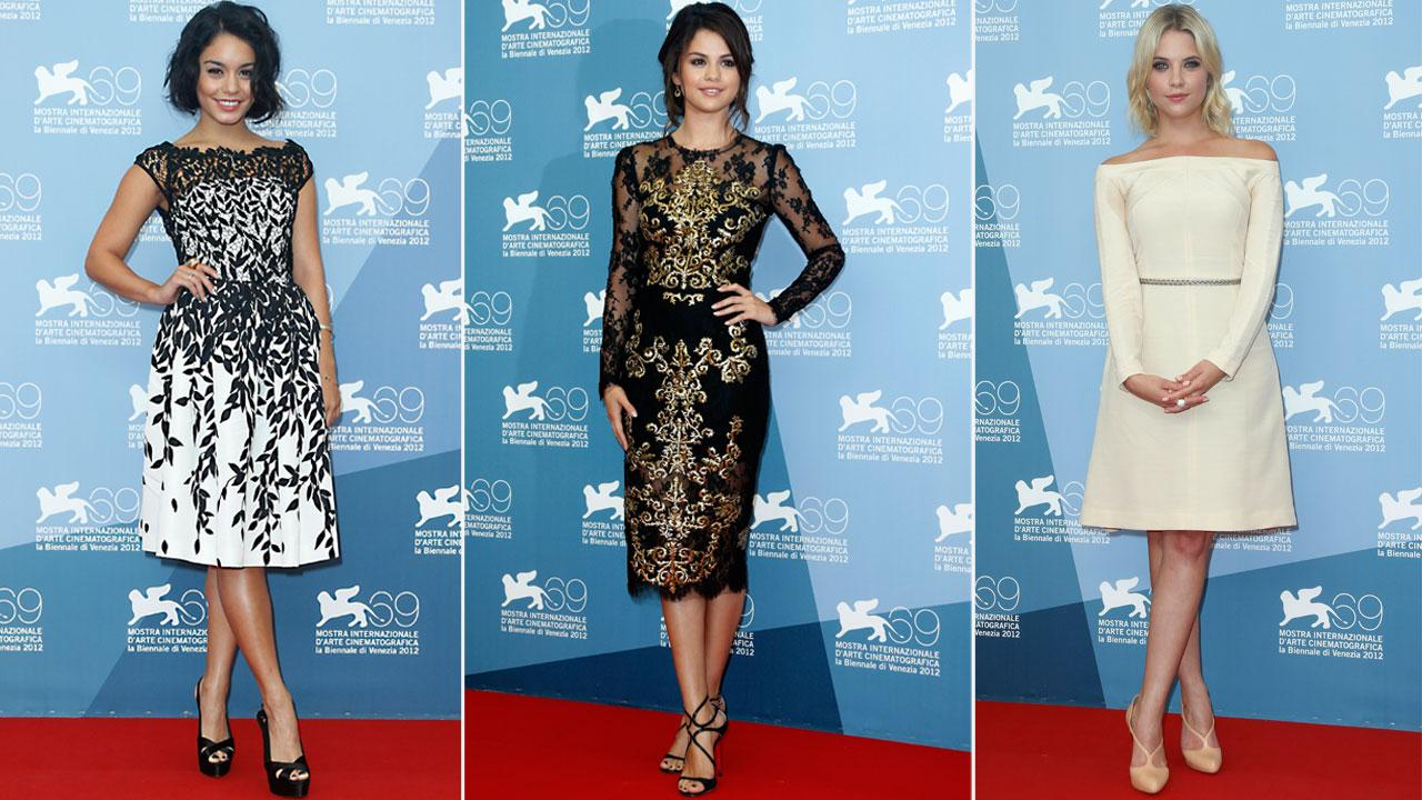 Vanessa Hudgens, Selena Gomez and Ashley Benson attended the Venice Film Festival in Venice, Italy on September 5 to promote their film Spring Breakers.