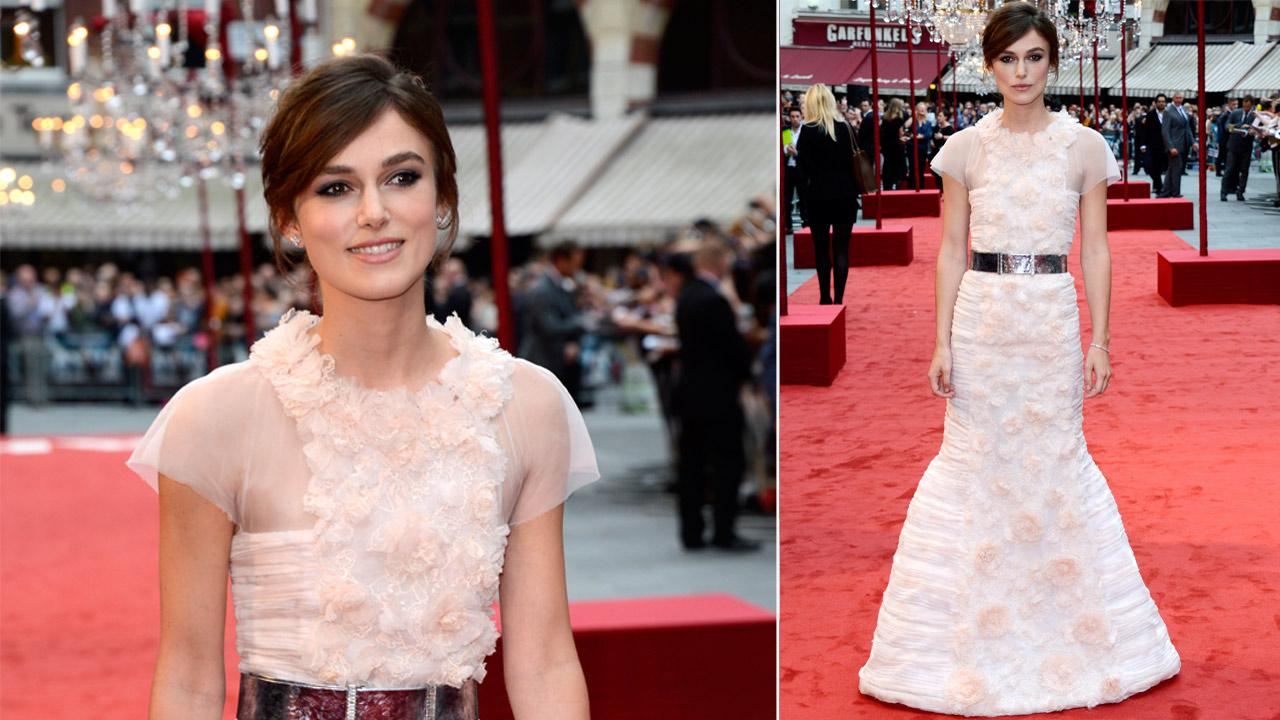 Cast member British actress Keira Knightley poses as she arrives for the world premiere of Anna Karenina in London on Tuesday, Sept. 4, 2012.