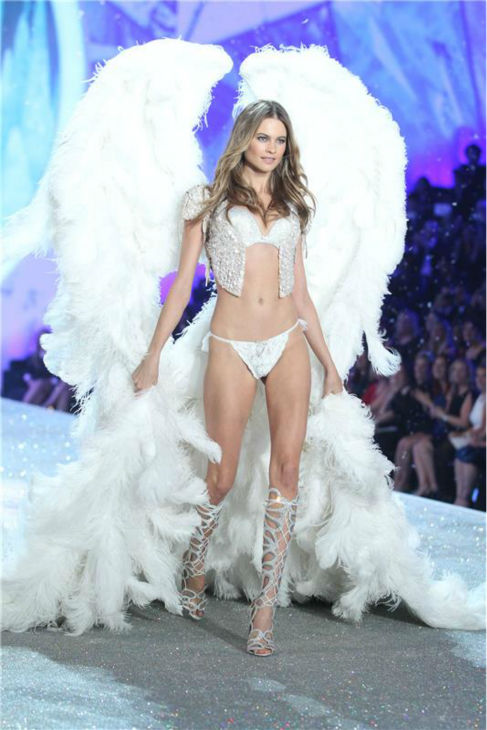 Behati Prinsloo (fiancee of Adam Levine) walks the runway at the 2013 Victoria's Secret Fashion Show at the Lexington Armory in New York on Nov. 13, 2013.