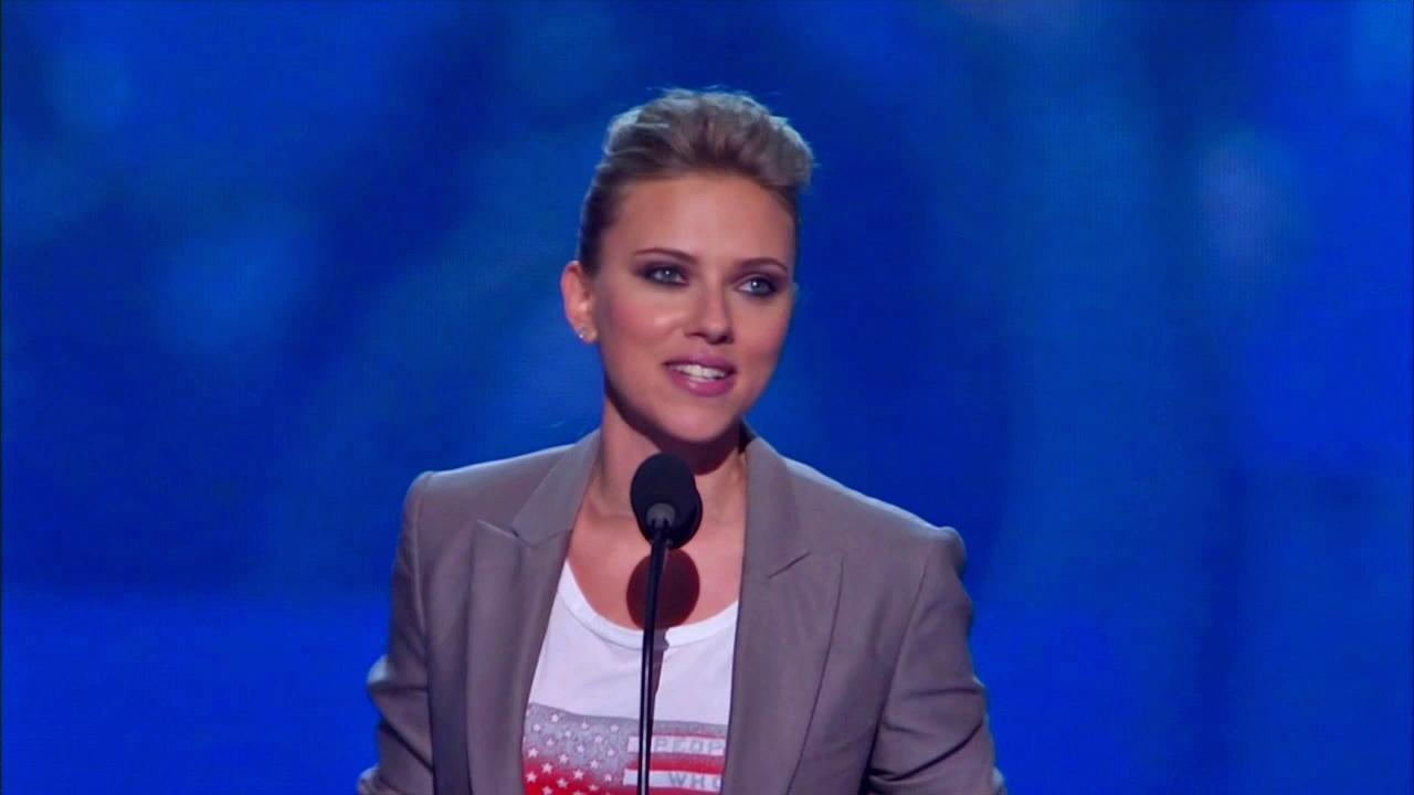 Scarlet Johansson gives a speech at the Democratic National Convention in North Carolina on Sept. 6, 2012.