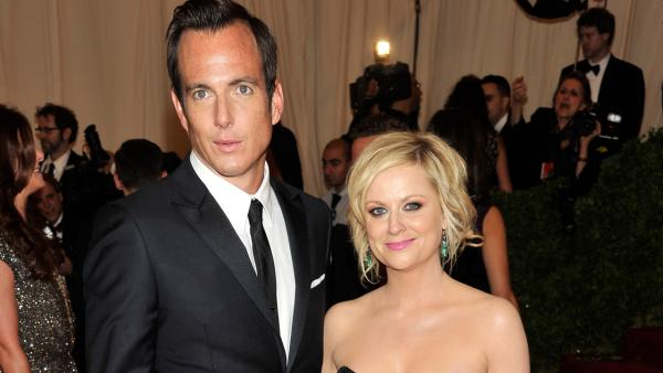 This May 7, 2012 file photo shows actors Will Arnett and Amy Poehler arriving at the Metropolitan Museum of Art Costume Institute gala benefit in New York.