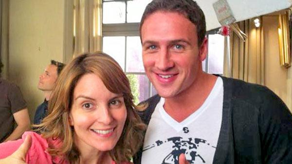 Tina Fey and Ryan Lochte appear in a photo posted on Twitter on September 6, 2012. - Provided courtesy of NBC