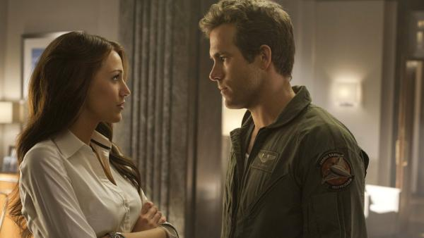 Blake Lively and Ryan Reynolds appear in a scene from the 2011 movie 'Green Lantern.'