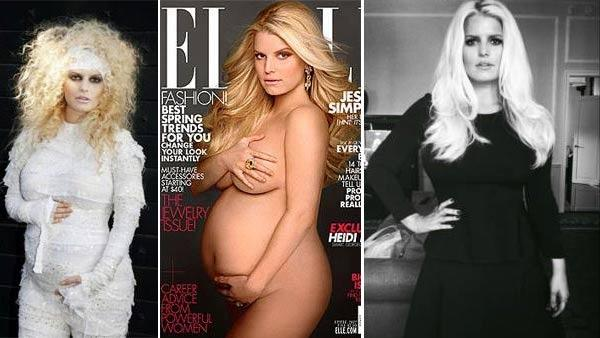 Jessica Simpson appears in a photo announcing her pregnancy in October 2011 /  Simpson appears on the cover of Elle in April 2012 / Simpson appears in a Twitter photo posted on September 10, 2012. - Provided courtesy of JessicaSimpson.com / Elle / Twitter.com/JessicaSimpson