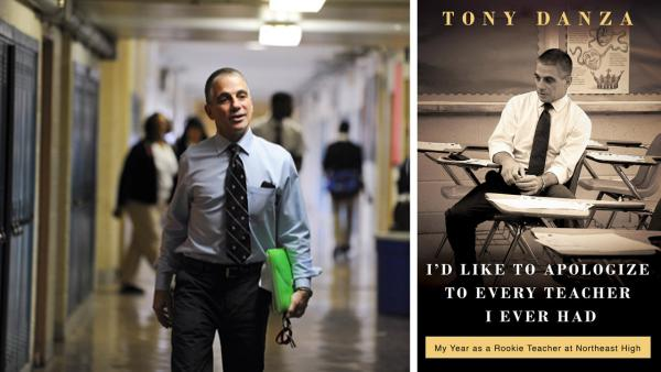 Tony Danza appears in a scene from the reality show Teach: Tony Danza in 2010. / Tony Danza appears on the cover of his 2012 book: Id Like To Apologize To every Teacher I Ever Had: My Year As A Rookie Teacher At Northeast High. - Provided courtesy of A and E Networks / Crown Archetype
