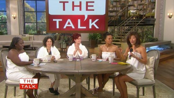 Sharon Osbourne, Julie Chen, Sara Gilbert, Aisha Tyler and Sheryl Underwood appear without makeup on the season 3 premiere of 'The Talk' on Sept. 10, 2012.