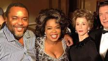 Oprah Winfrey posted this photo of herself with Lee Daniels (left), Jane Fonda as Nancy Reagan and Alan Rickman as Ronald Reagan (right) on her Instagram page on Sept. 10, 2012. - Provided courtesy of instagram.com/p/Pakt0YSS9A/ twitter.com/oprah