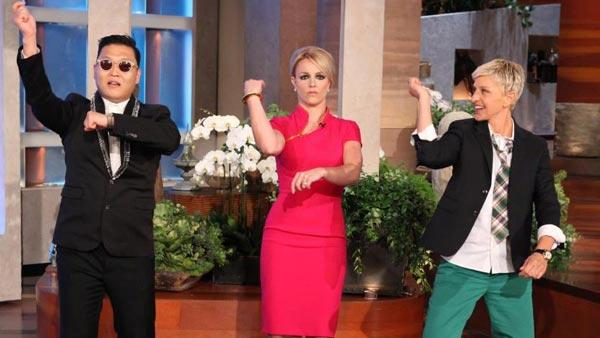 Psy, Britney Spears and Ellen DeGeneres appear on The Ellen DeGeneres Show on September 11, 2012. - Provided courtesy of Warner Bros. Television