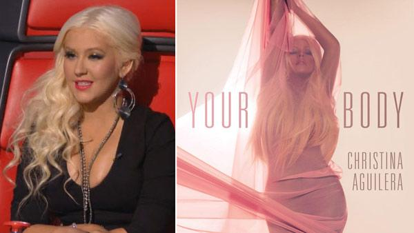 Christina Aguilera appears on the NBC show The Voice in 2012. / Christina Aguilera appears on the cover of her Your Body single. - Provided courtesy of NBC / RCA Records