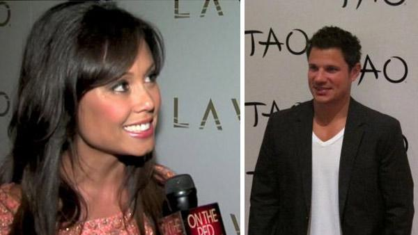 Vanessa Minnillo talks to OnTheRedCarpet.com at the entrance to her bachelorette party in Las Vegas in June 2011. / Nick Lachey appears at his bachelor party at Nick Lachey appears at TAO Las Vegas on July 1, 2011. - Provided courtesy of OTRC / TAO Las Vegas / twitter.com/taolasvegas
