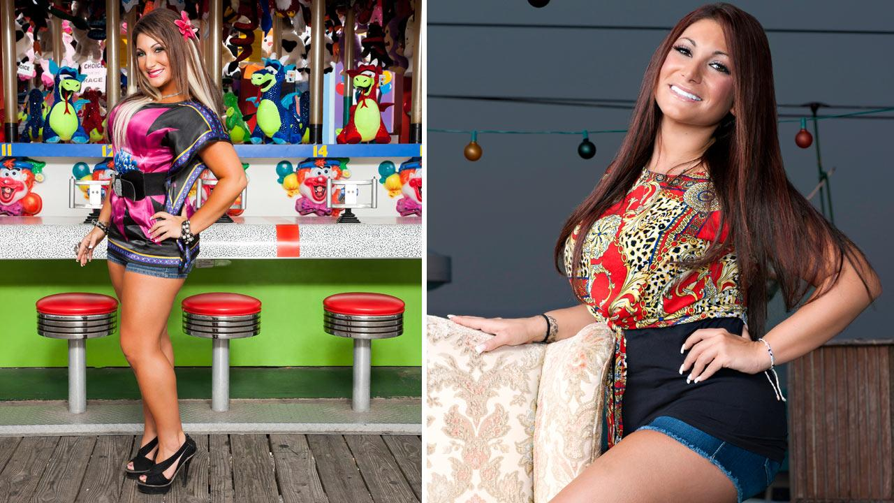 Deena Cortese appears in promotional photos for Jersey Shore in 2011 (left) and 2012.
