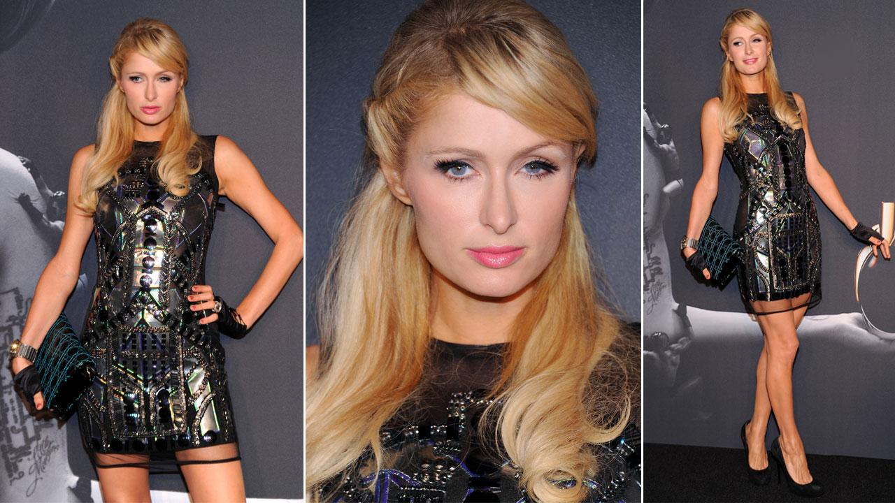 Paris Hilton arrives at the event of Lady Gagas perfume launch in New York on Sept. 13, 2012.