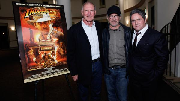 Harrison Ford, 70, Steven Spielberg, 65, and Paramount Chairman and CEO Brad Grey attend the 'Indiana Jones and the Raiders of the Lost Ark' special screening at Paramount Studios in Hollywood, California on Sept. 13, 2012.